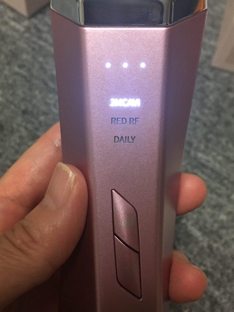 アイスレディ美顔器の電源/モード切替ボタンの写真