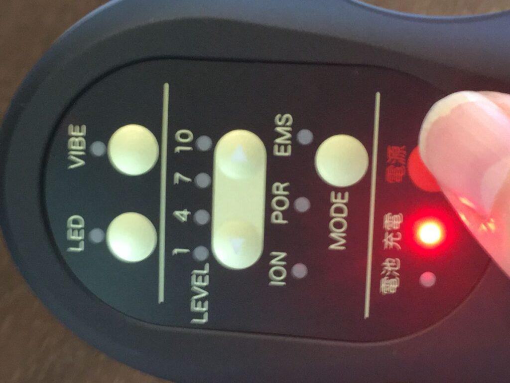 ティレット美顔器の電源ボタンの写真